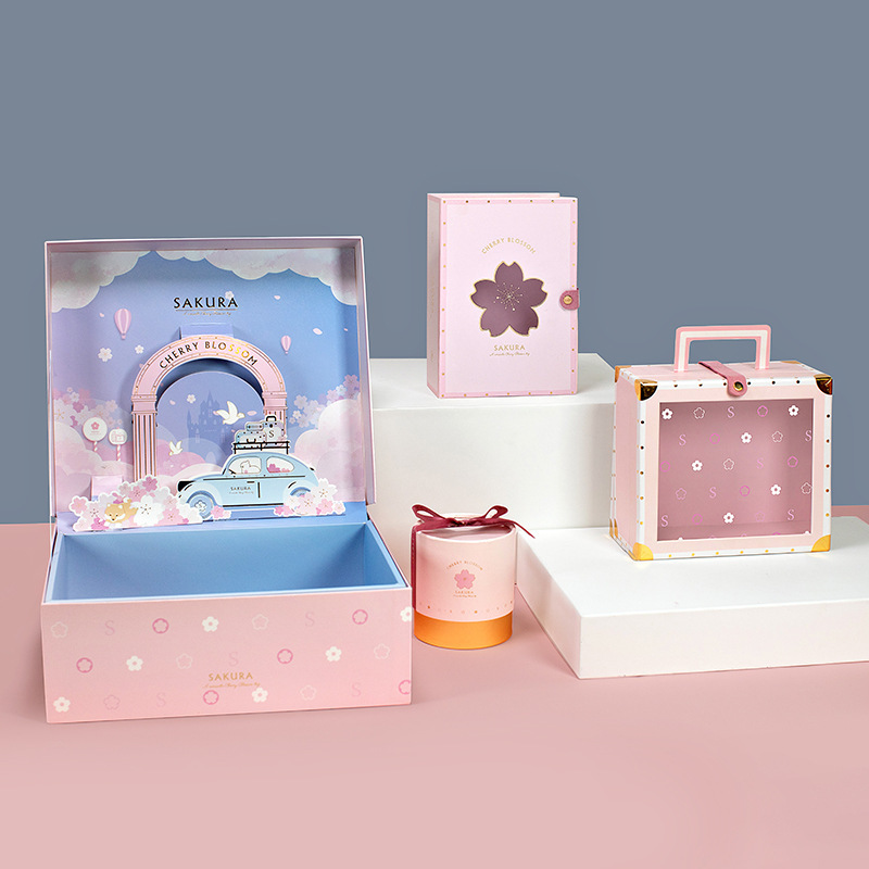 Pre-sale 2020 New Cherry Blossom Valentine's Day Gift Box Packaging Cosmetics Skincare Jewelry Box Party Favors Gift For Guests