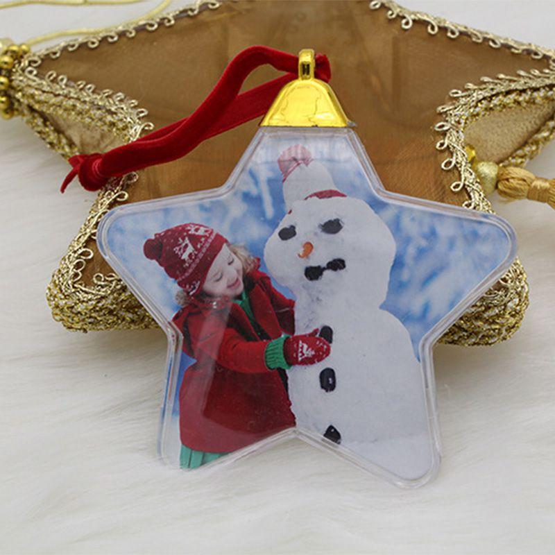 DIY прозрачный кулон-фоторамка Снеговик пятизвездный шар Рождественская елка подвесные украшения Рождественские украшения для дома - Цвет: A