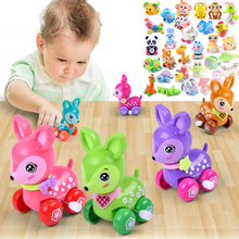 Baby Funny Kids Toys Spring Creative Chain Clockwork Car Mini Pull Back Jumping Frog Dog Lion Wind Up Toys for Children Toddlers