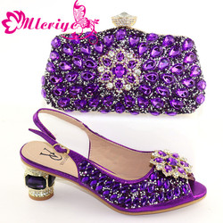 Shoes and Bag Set African Sets 2020 purple Color Italian Shoe Bag Set Decorated with Rhinestone High Quality!HXX1-29