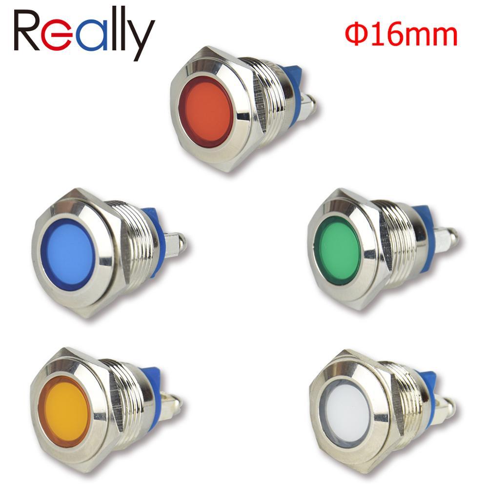 16 мм металлический светодиодный светильник-индикатор Водонепроницаемая сигнальная лампа 12 В 24 В 220 В красный желтый синий зеленый белый пил...