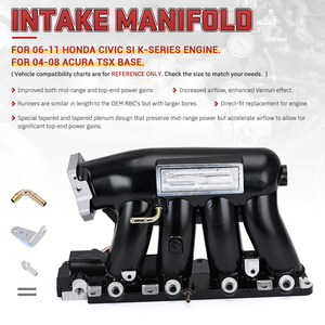 Image 2 - VR Aluminium Intake Manifold Für 06 11 Honda Civic 04 08 Acura TSX K20Z3 Silber Schwarz VR IM52