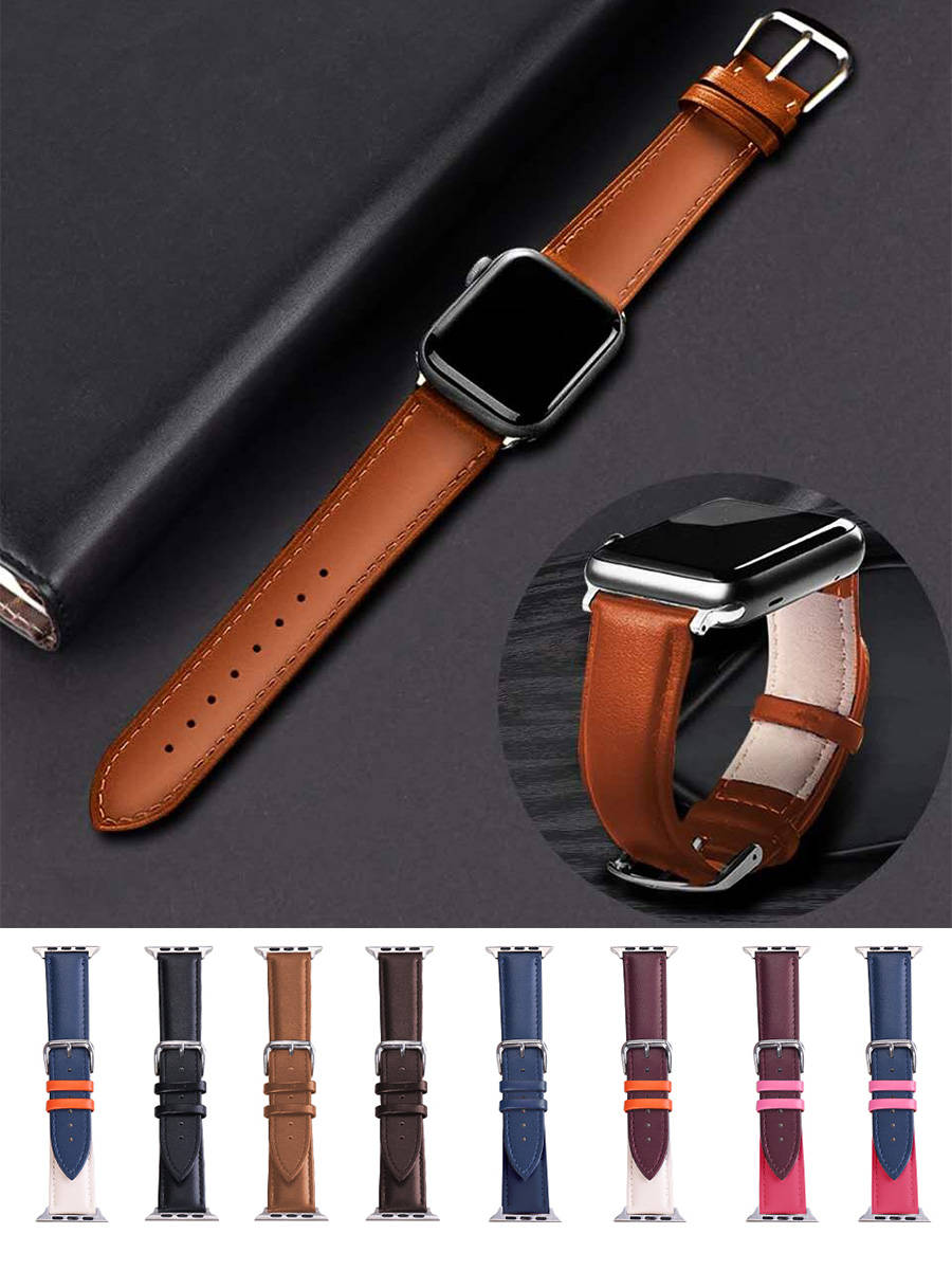 Brown Leather Band Loop Strap For Apple Watch 6 SE 5 4 3 2 1 38mm 40mm Men Leather Watch