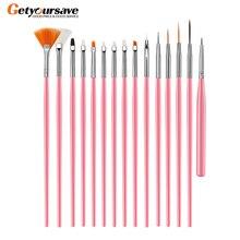 15 teile/satz Gel Polnischen Pinsel Rosa Werkzeuge Gel Malerei Stift Nagel Werkzeuge Nagel Pinsel Punktierung Malerei Zeichnung Pen Nail art