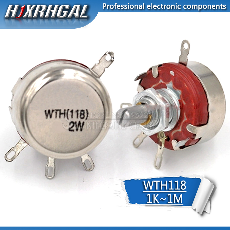 1PCS WTH118 2W 1A Potentiometer 1K 2.2K 4.7K 10K 22K 47K 1M WTH118-2W Round Shaft Carbon Rotary Taper Potentiometer Hjxrhgal