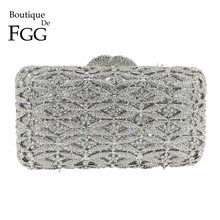 Boutique De FGG Luxury Silver Crystal Purse Evening Clutch Bag Women Metal Box Minaudiere Wedding Party Dinner Diamond Handbag