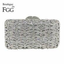 Butik De FGG lüks gümüş kristal çanta akşam el çantası kadınlar Metal kutusu Minaudiere düğün yemeği elmas çanta