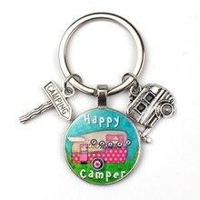 Счастливый Отдых милые туристический автомобиль я лагерь camper ключ дорожный знак брелок со стеклянным кабошоном путешественник цепочка для ключей «богиня»;