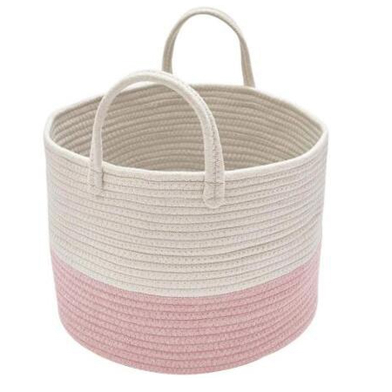 Storage Baskets Cotton Rope Basket Woven Baby Laundry Basket Sofa Throws Pillows Towels Toys Or Nursery Cotton Rope Organizer La