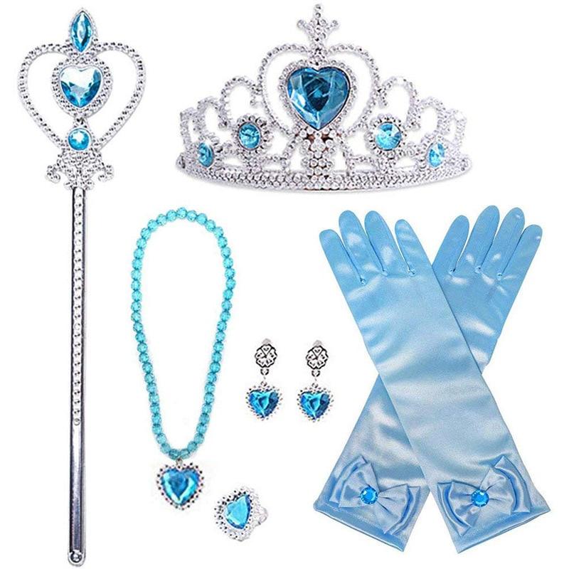 New Disney Princess Elsa Anna Doll Figures Magic Stick Crown Gloves Snow Queen Necklace Doll Accessories For Children Girls Gift