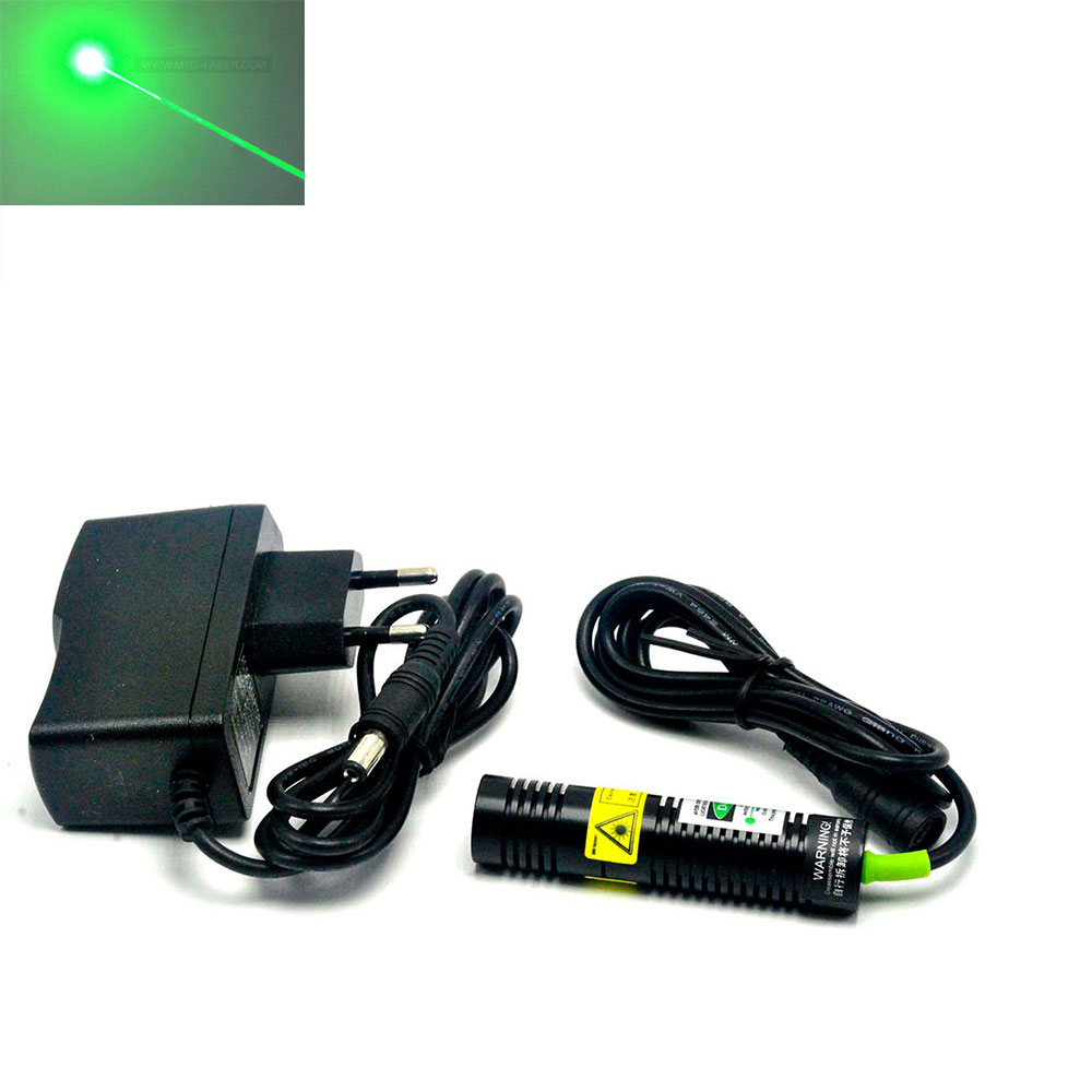 Focusable 532nm 10mw Green Dot Laser Diode Module W/ 5v AC Adapter 18x75mm Long Time Working