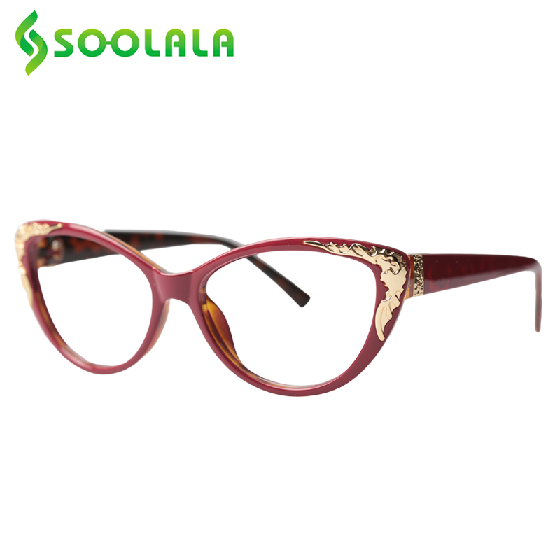SOOLALA Anti Blue Light Cat Eye Reading Glasses Women With Gold Baroque Reader Prescription Glasses 0.5 0.5 1.25 1.5 1.5 To 4.0