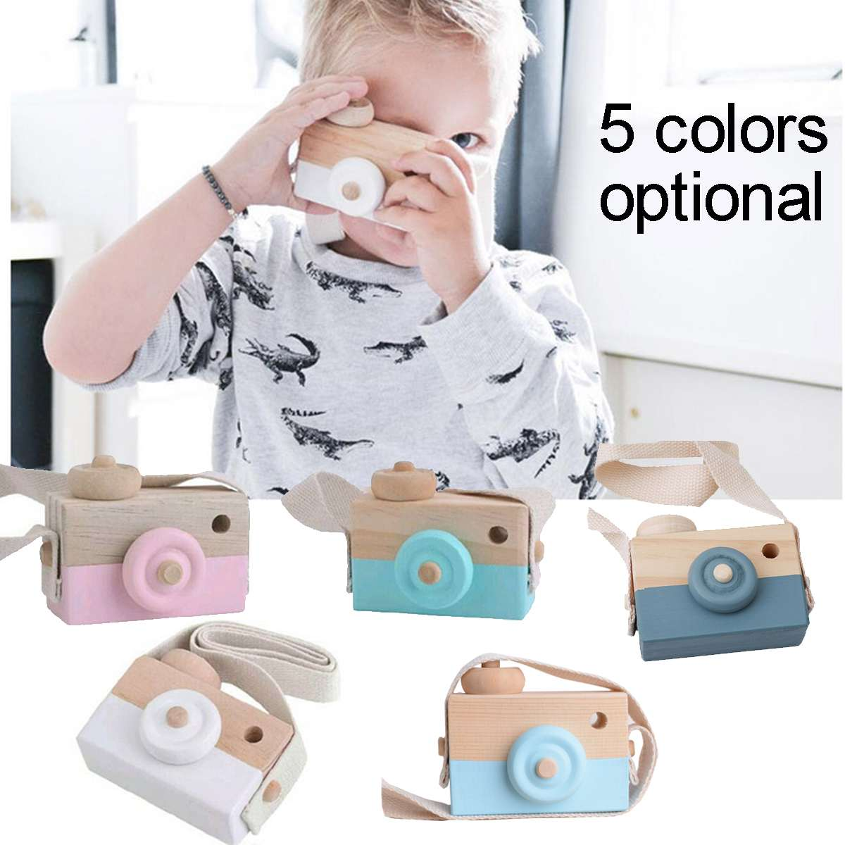 Nordic Style Children's Wooden Camera Ornaments Mini Portable Wearable Educational Toys Photography Props Cute Home Ornaments