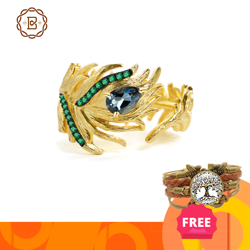 GEM'S BALLET 0.47Ct Natural London Blue Topaz Gemstone Rings 925 Sterling Silver Handmade Adjustable Bohemia Gold Ring for Women