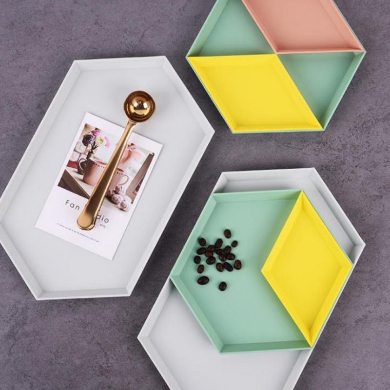 Innovative Color Geometric Combination Storage Tray Removable Simple Jewelry Snack Plastic Desktop Detachable Fruit Plate