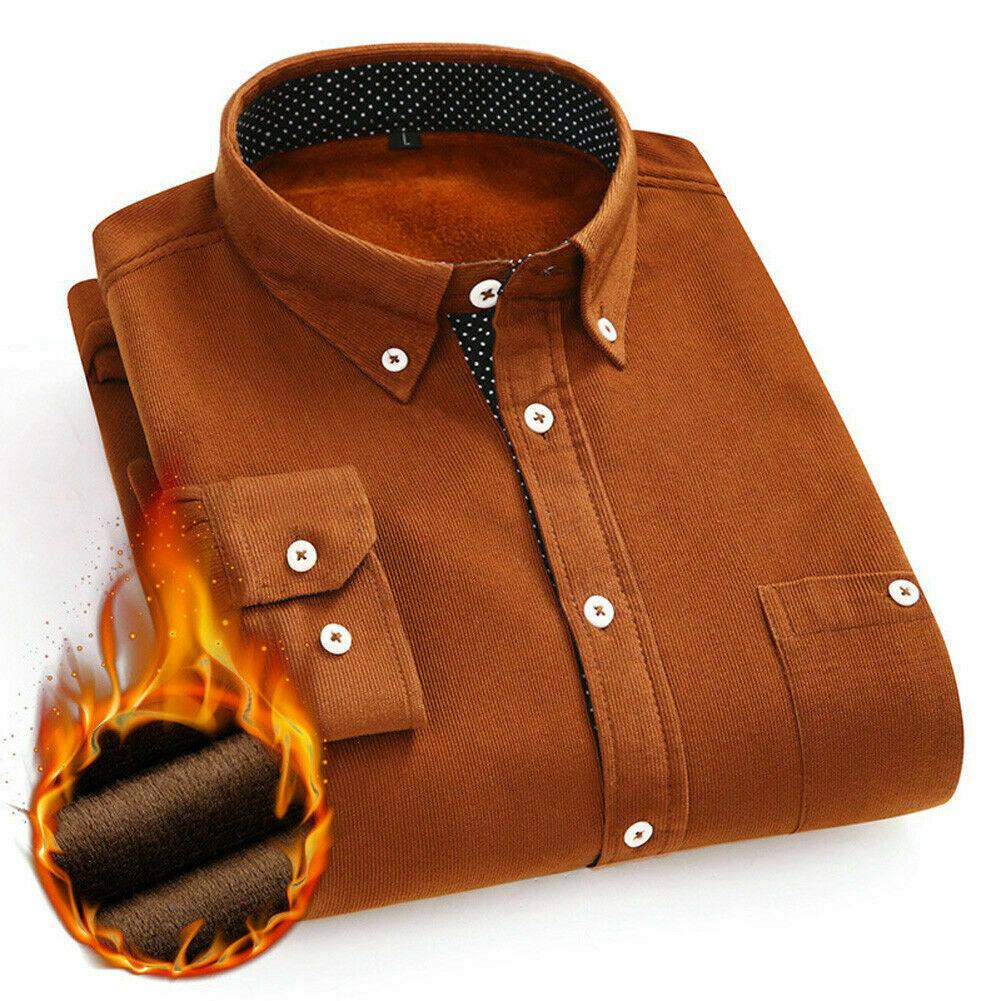 2020 Men's Winter Warm Corduroy Shirts Male Thermal Add Velvet Slim Button Casul Shirt Tops Male Clothes Thick Shirts Men