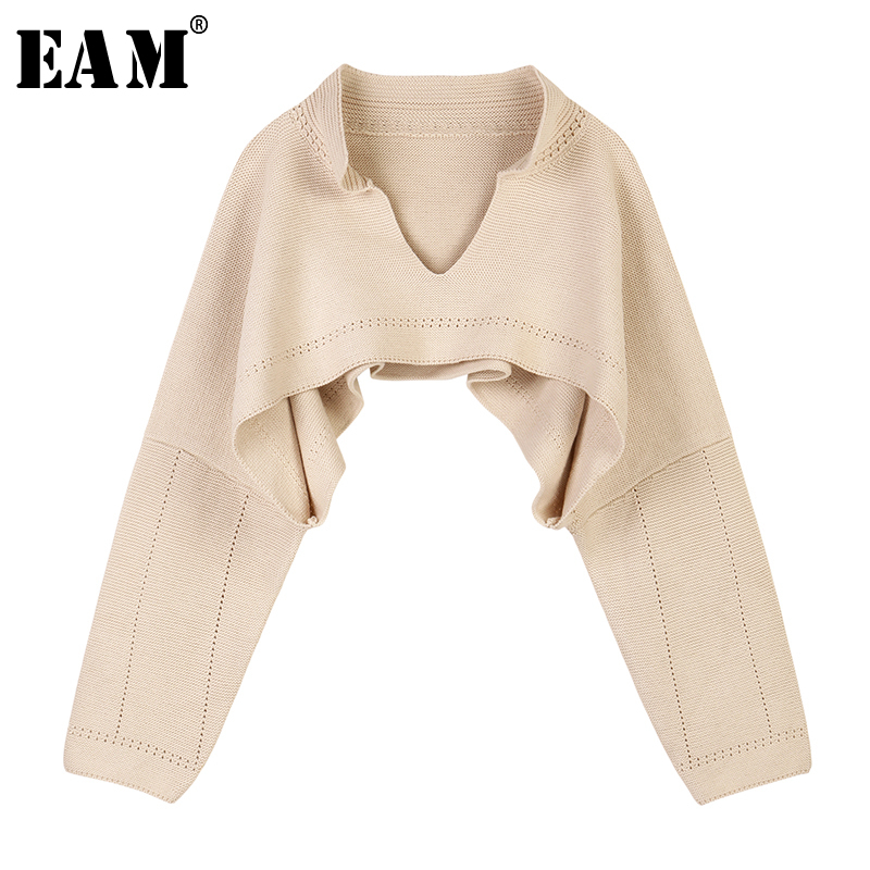 [EAM] Apricot Brief Big Size Short Knitting Sweater Loose Fit V-Neck Long Sleeve Women Pullovers New Fashion Spring 2020 1S363