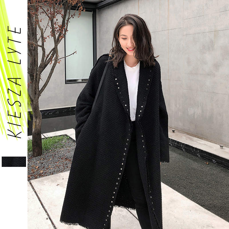 Winter Tweed Jacket Women 2019 Casual Long Sleeve Wool Thickened  Riveter Open Stitch Coat Female Outwears