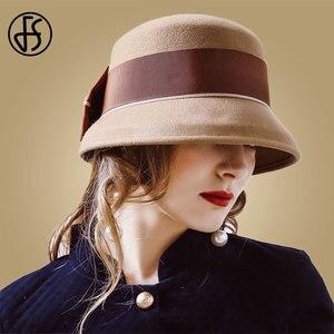 Image 4 - Fedora de fieltro de lana Vintage para mujer, sombrero de Lazo Rojo, con diseño Floral, ala ancha, Bowler, elegante, para invierno, para iglesia, FS