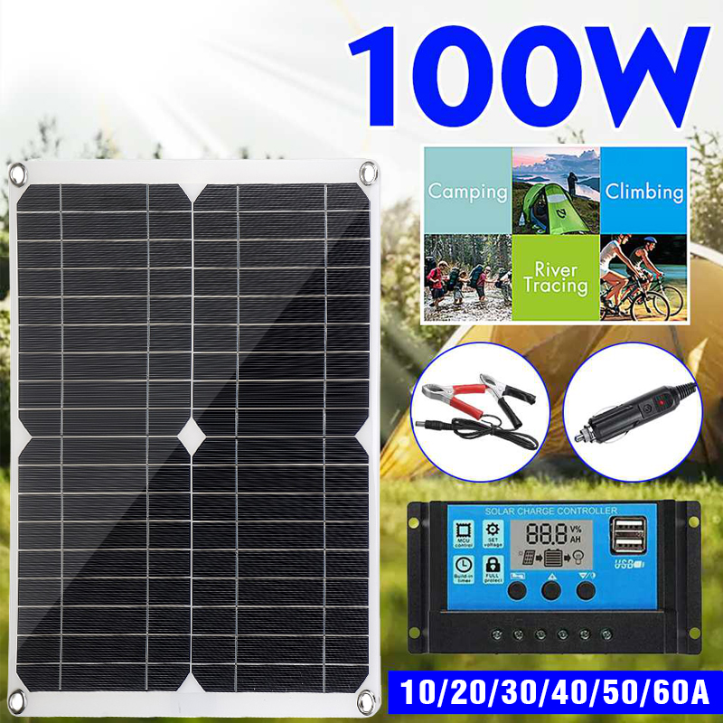 100W Solar Panel Kit Complete 12V USB With 10/20/30A Controller Solar Cells for Car Yacht RV Boat Moblie Phone Battery Charger