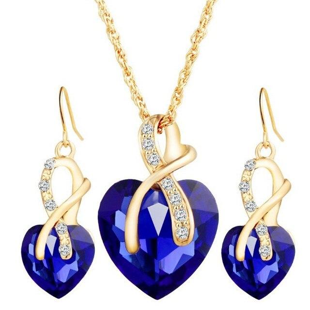 Conjunto de joyería de cristal de arcoíris Vintage para mujer, aretes colgantes de Color dorado con abalorio para mujer, corazón amor, collar de cadena de boda Simple 4