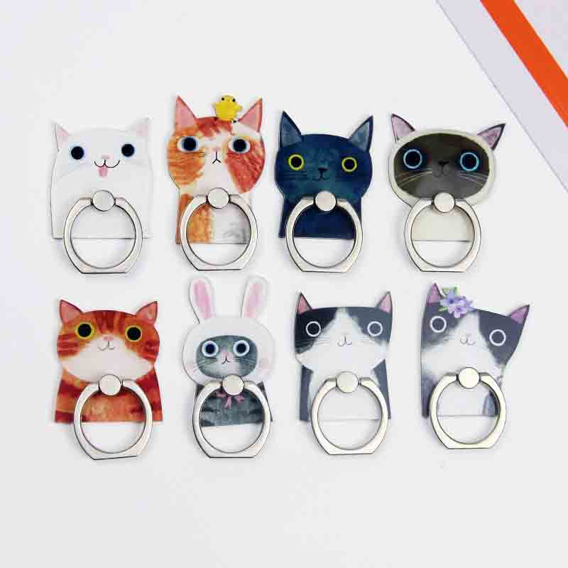 8 Cool Color Cat Plastic Pattern Mobile Phone Finger Ring Holder Universal For Iphone Samsung Apply To Men And Women