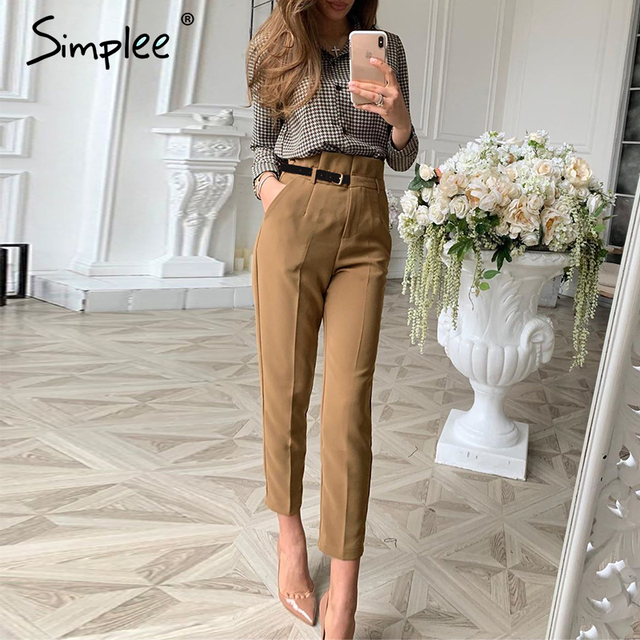Simplee Women fashion high waist pencil pants Spring female casual belt patchwork long pants Office lady work wear trousers