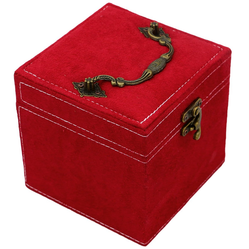 Retro Jewelry Box Case Storage Organizer Makeup Case With Lock - Red