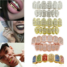1Pc New Gold Plated Teeth Grillz Vampire Fang Mold Kit Hip Hop Body Jewelry Top Bottom Grillz Gangsta Metal+Silicone