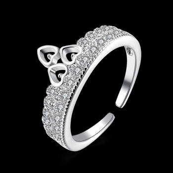 Fashion Rheinstone Trendy Shiny Zirconia Elegant Open Ring for Love Engagement Luxury Jewelry Women Silver Plated LKNSPCR218 image