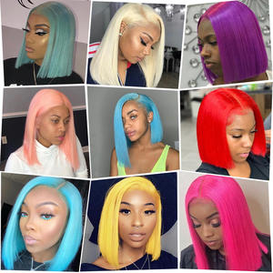 Bob Wigs Short-Cut Human-Hair Lace-Front 613-Blonde Pink Straight Black Women Green Brazilian