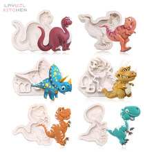 Karikatür dinozor şekilli silikon kalıp çeşitli dinozor şeklinde çikolata şekerleme kalıpları kek dekorasyon araçları reçine kalıpları