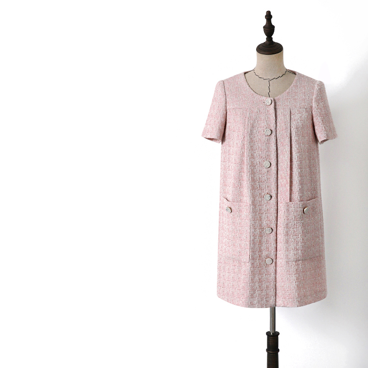 Women autumn High quality brand design loose tweed dress Japan style short sleeves sweet A721