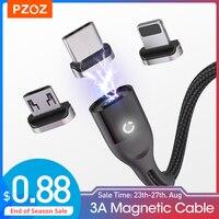 PZOZ-Cable magnético Micro USB C, adaptador de carga rápida, Cable magnético tipo C para teléfono móvil, cargador de datos para iPhone 12 Pro