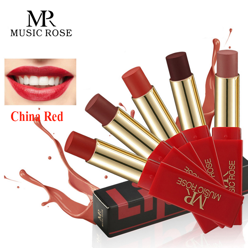 MUSIC ROSE Classic China Red Matte Lipstick Brand Makeup Waterproof Glitter Long-lasting Smooth Nude Lip Stick