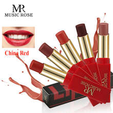 MUSIC ROSE Classic China Red Matte Lipstick Brand Makeup Waterproof Glitter Long-lasting Smooth Nude Lip Stick