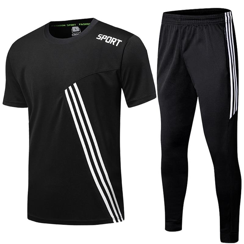 running - Sports Shirts Suits Running Shrit Men + Sport Jogging zip Running Pants men Soccer fitness workout Gym running suit men set