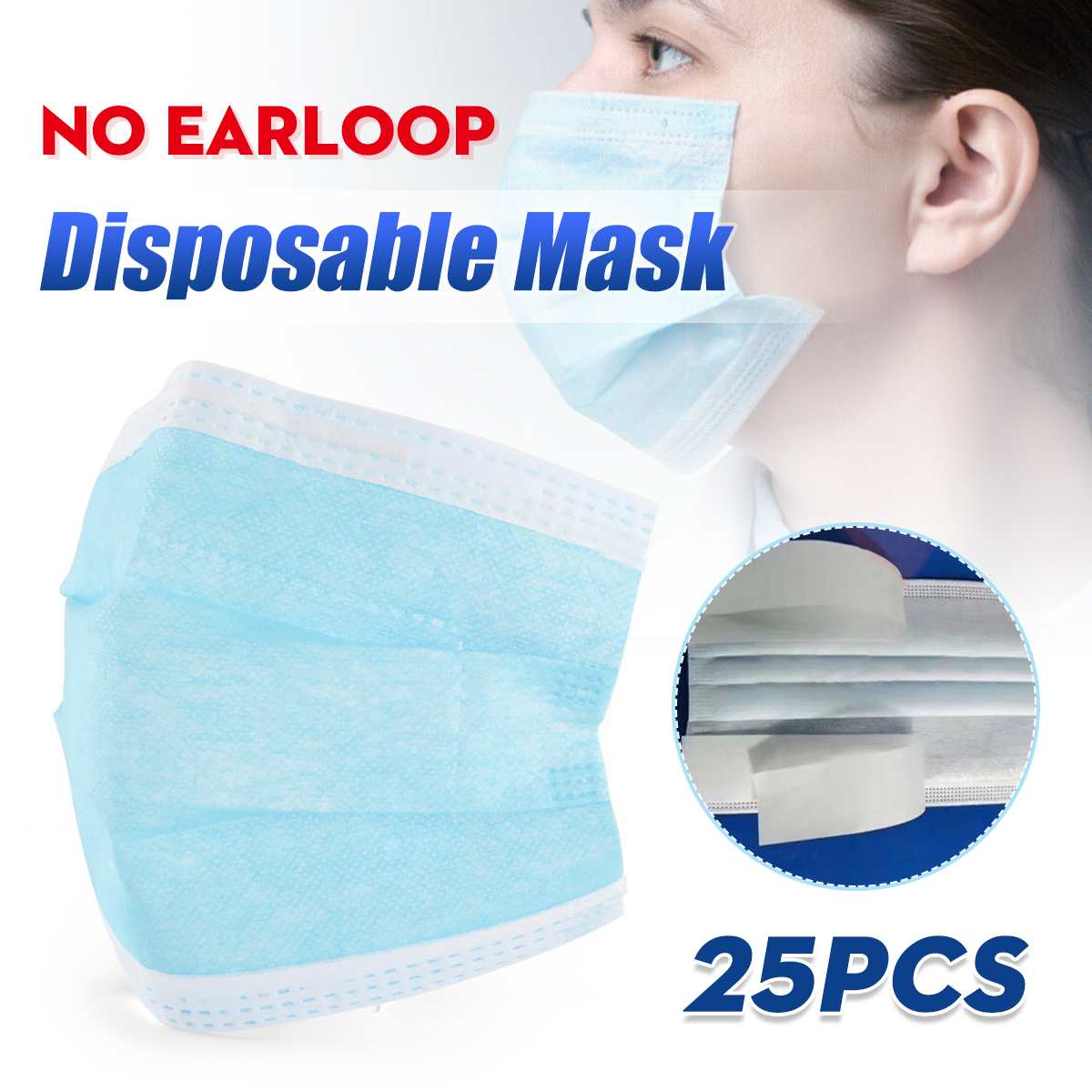 25pcs 3 Layers Disposable Face Masks Pad Particulate Respirator without Earloop Home DIY Face Mouth Mask Stick Breathing Mask
