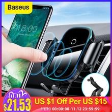 Baseus carregador de carro sem fio para iphone xs max xr x 8 mais luz elétrica 2 em 1 carregador sem fio 15w suporte do carro para huawei p30proCarregadores sem Fio