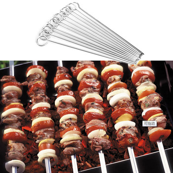 12PCS BBQ Barbeque Skewers Metal Heat Resistant Cookware Needle Utensil Fork Iron Outdoor Traveling Kitchen BBQ Accessories 2