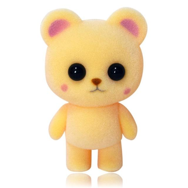 Mini Lovely Bear Doll Animal Flocking Toy Car Home Decor Baby Kids As picture Gifts