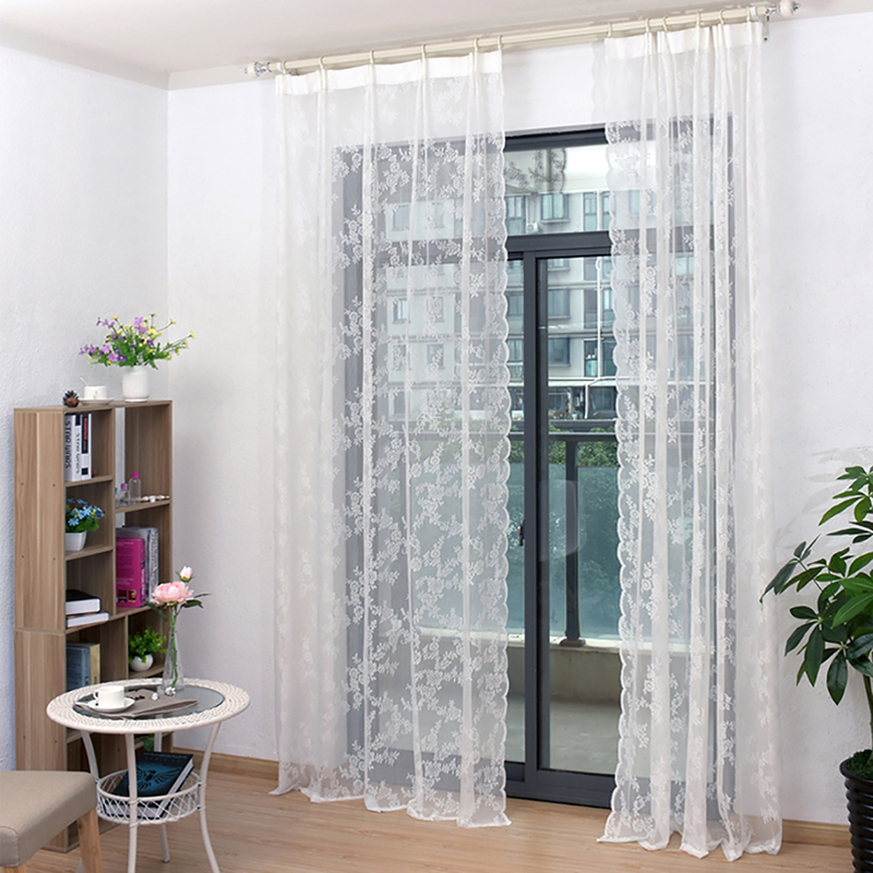 Lace Curtains Tulle Voile Curtains Insect Bed Canopy Netting Drape Panel Leaf Door Window Sheer White Curtain For Living Room