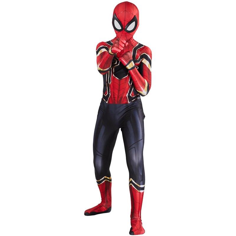 Iron Spider Cosplay Amazing Spider-boy Man Halloween Costume Peter Parker Zentai Suit Superhero Bodysuit For Kids Adult C39A66 4