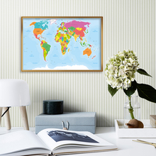 A2 Размер The Мир Карта In Французский Декоративный Плакат Стена Наклейка Карточка Холст Картина Дом Украшение Школа Принадлежности Путешествие Подарок