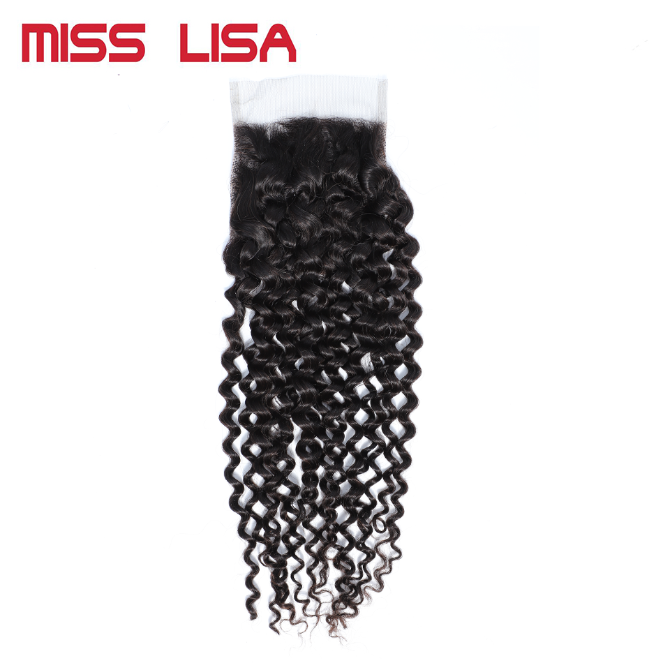 MISS LISA Kinky Curly 4X4 Lace Closure Free/Middle/Three Part Swiss Lace Medium Brown Color Closures Non-Remy Brazilian Hair