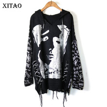 Sweater Pullover Hooded XITAO Letter Collar Knitted Character-Pattern Full-Sleeve Patchwork
