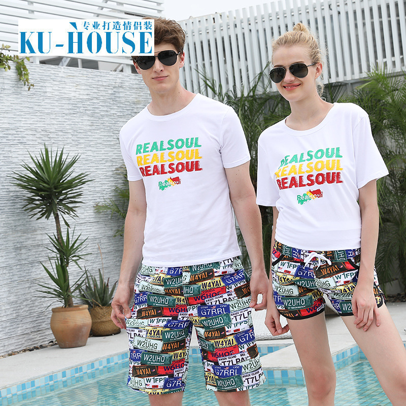 Couples Shorts MEN'S Beach Shorts Men's Seaside Large Size Summer Loose-Fit Thin Quick-Dry Straight-Cut Casual In Shorts Fashion
