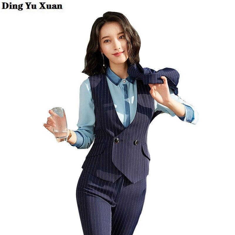 Blazer Vest Pant Skirt 3 Three Pieces Set Black Navy Blue Striped Business Pants Skirts Suit Women Formal Office Work Suite