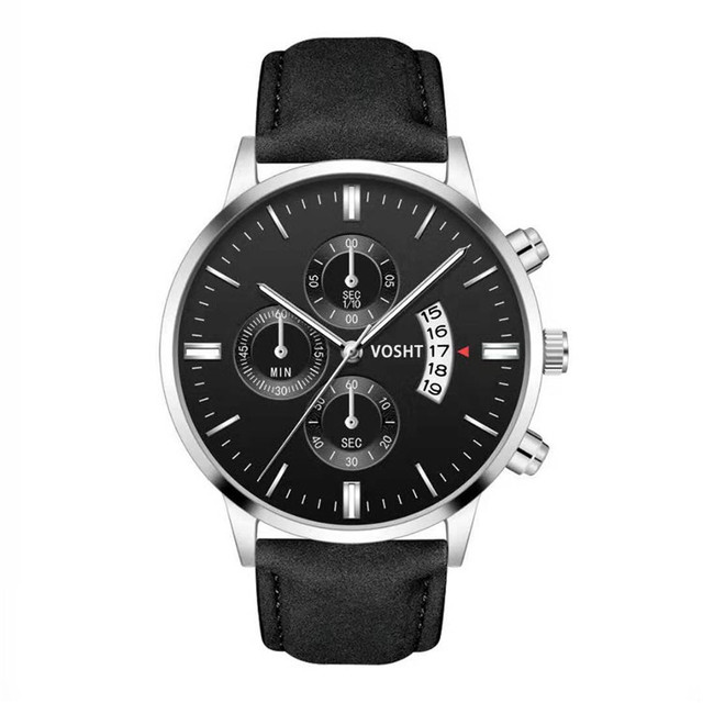 Simple Sport Stainless Steel Case Leather Band Watch 5