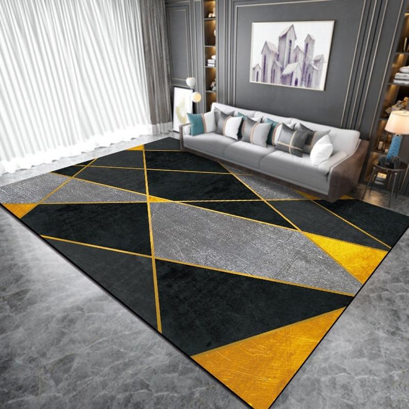 Черный желтый геометрический Коврик и коврик в скандинавском стиле для гостиной, детской спальни, прикроватный нескользящий коврик для пола, кухонный коврик для ванной комнаты|Ковер|   | АлиЭкспресс